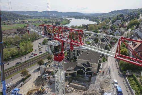 Terex CTT 162-8 during erection in Waldshut
