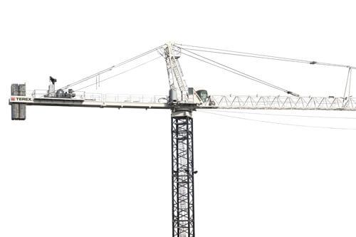 Terex SK 452-20 Hammerhead Tower Crane showing full jib