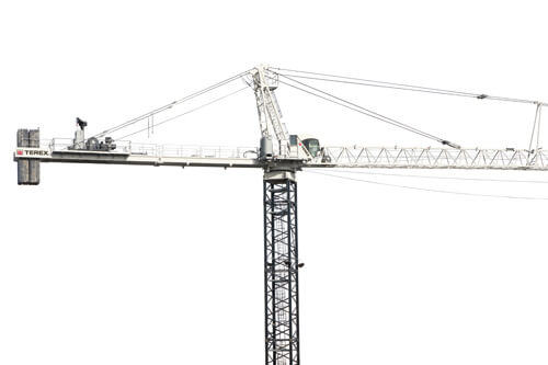 Terex SK 452-20 Hammerhead Tower Crane showing full jib