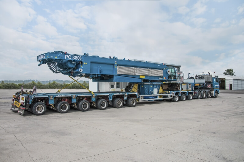 Demag PC 3800-1 on trailer