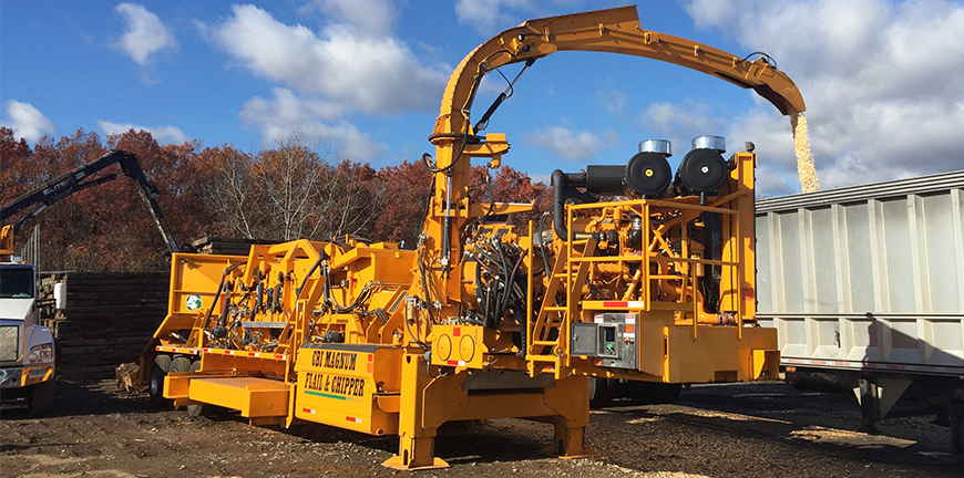7544 chain flail debarker and disc chipper combo