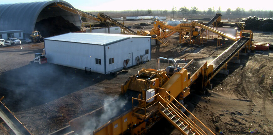 Railroad ties grinding and recycling site