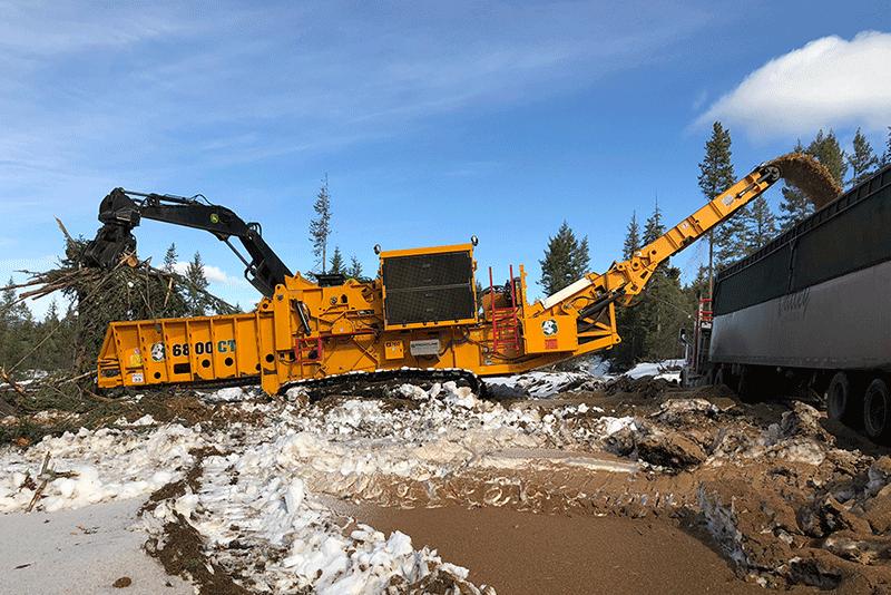 Horizontal Grinder Working in a Logging Application