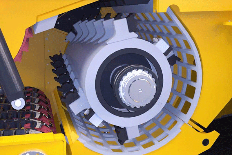 Interior View of Horizontal Grinder Rotor