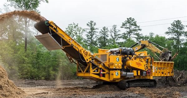 6800CT Horizontal Grinder in a road clearing application in North Carolina