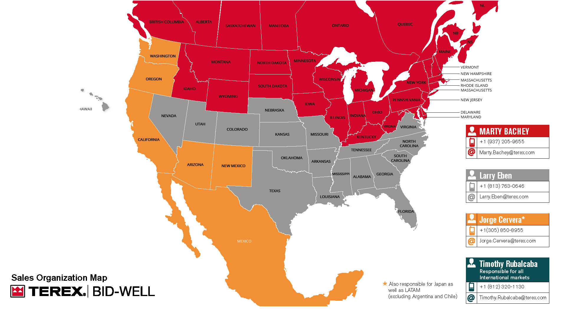 Map of North American Sales Reps